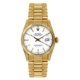 Rolex President Midsize Fluted White Index Dial Women's Watch