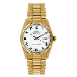 Rolex President Midsize Fluted White Roman Dial Women's Watch