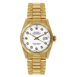 Rolex President Midsize Fluted Custom White Diamond Dial Women's Watch