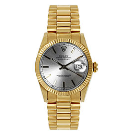 Rolex President Midsize Fluted Silver Index Dial Womens Watch