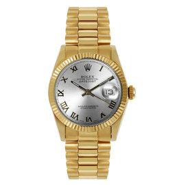 Rolex President Midsize Fluted Silver Roman Dial Womens Watch