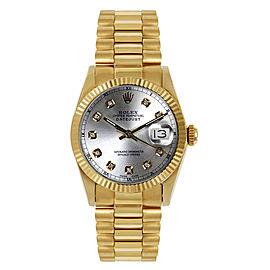 Rolex President Midsize Fluted Custom Silver Diamond Dial Womens Watch
