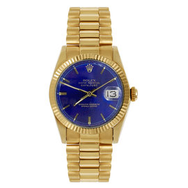 Rolex President Midsize Fluted Blue Index Dial Womens Watch