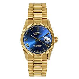 Rolex President Midsize Fluted Blue Roman Dial Womens Watch