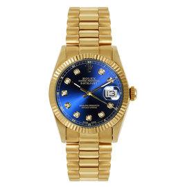 Rolex President Midsize Fluted Custom Blue Diamond Dial Womens Watch