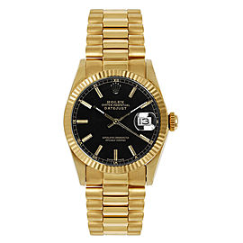 Rolex President Midsize Fluted Black Index Dial Womens Watch