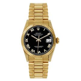 Rolex President Midsize Fluted Black Roman Dial Womens Watch