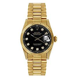 Rolex President Midsize Fluted Custom Black Diamond Dial Womens Watch