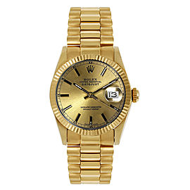 Rolex President Midsize Fluted Champagne Index Dial Womens Watch