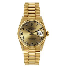 Rolex President Midsize Fluted Champagne Roman Dial Womens Watch