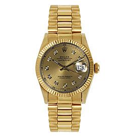 Rolex President Midsize Fluted Custom Champagne Diamond Dial Womens Watch