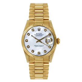 Rolex President Midsize Fluted Custom Mother of Pearl Dial Womens Watch