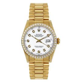 Rolex President Midsize Custom Diamond Bezel White Diamond Dial Womens Watch