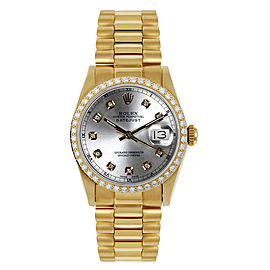 Rolex President Midsize Custom Diamond Bezel Silver Diamond Dial Womens Watch