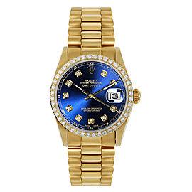 Rolex President Midsize Custom Diamond Bezel Blue Diamond Dial Womens Watch