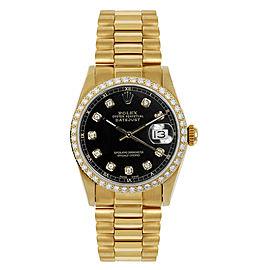 Rolex President Midsize Custom Diamond Bezel Black Diamond Dial Womens Watch