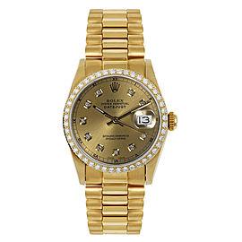 Rolex President Midsize Custom Diamond Bezel Champagne Diamond Dial Womens Watch