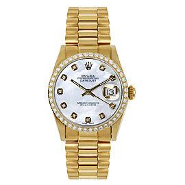 Rolex President Midsize Custom Diamond Bezel Mother of Pearl Dial Womens Watch
