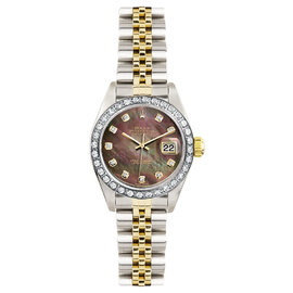 Rolex Datejust Two Tone Custom Diamond Bezel & Dark Pearl Diamond Dial Women's Watch