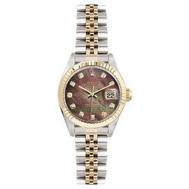Rolex Datejust Two Tone Fluted Custom Dark Pearl Diamond Dial Women's Watch