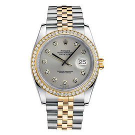 Rolex Datejust Two Tone Custom Diamond Bezel & Silver Diamond Dial on Jubilee Bracelet Watch