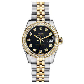 Rolex Datejust Two-Tone with Custom Diamond Bezel and Black Diamond Dial Womens Watch