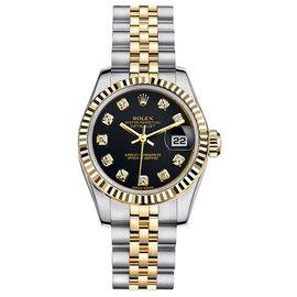 Rolex Datejust Two-Tone with Custom Black Diamond Dial Womens Watch