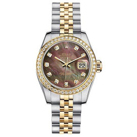 Rolex Datejust Two-Tone with Custom Diamond Bezel and Black Mother of Pearl Diamond Dial Womens Watch