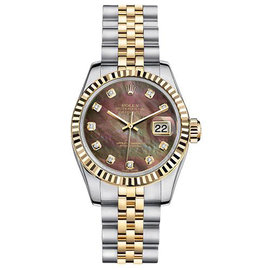 Rolex Datejust Two-Tone with Custom Black Mother of Pearl Diamond Dial Womens Watch