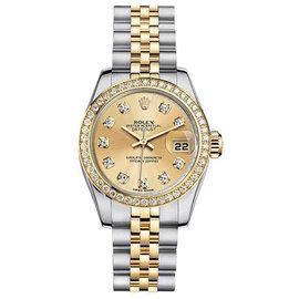 Rolex Datejust Two-Tone with Custom Diamond Bezel and Champagne Diamond Dial Womens Watch