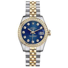 Rolex Datejust Two-Tone with Custom Diamond Bezel and Blue Diamond Dial Womens Watch