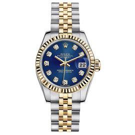 Rolex Datejust Two-Tone with Custom Blue Diamond Dial Womens Watch