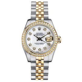 Rolex Datejust Two-Tone with Custom Diamond Bezel and Mother of Pearl Diamond Dial Womens Watch