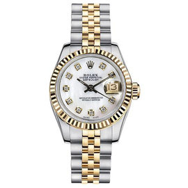 Rolex Datejust Two-Tone with Custom Mother of Pearl Diamond Dial Womens Watch