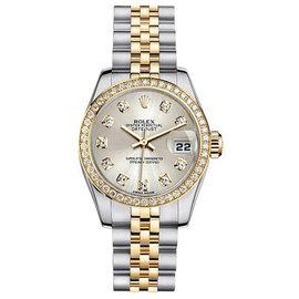 Rolex Datejust Two-Tone with Custom Diamond Bezel and Silver Diamond Dial Womens Watch