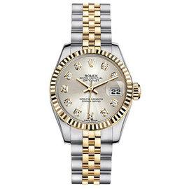 Rolex Datejust Two-Tone with Custom Silver Diamonds Dial Womens Watch