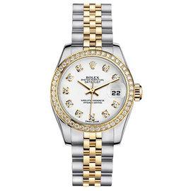 Rolex Datejust Two-Tone with Custom Diamond Bezel and White Diamond Dial Womens Watch
