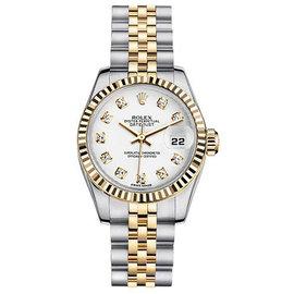 Rolex New Style Two-Tone Datejust with Custom White Diamond Dial Women's Watch