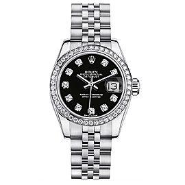 Rolex Datejust Steel Custom Diamond Bezel and Black Diamond Dial Womens Watch