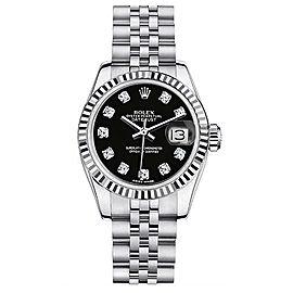 Rolex Datejust Steel Custom Black Diamond Dial Womens Watch