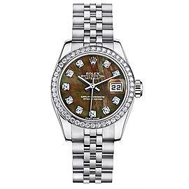 Rolex Datejust Steel Custom Diamond Bezel and Black Mother of Pearl Diamond Dial Womens Watch
