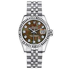 Rolex Steel Datejust Custom Black Mother of Pearl Diamond Dial Womens Watch