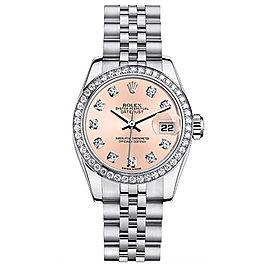 Rolex Datejust Steel Custom Diamond Bezel and Pink Diamond Dial Womens Watch