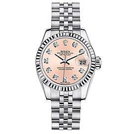 Rolex Steel Datejust with Custom Pink Diamond Dial Womens Watch