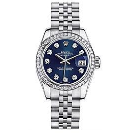 Rolex Datejust Steel Custom Diamond Bezel Blue Diamond Dial Womens Watch