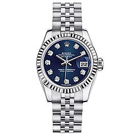 Rolex Datejust Steel Custom Blue Diamond Dial Womens Watch