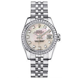 Rolex Datejust Steel Custom Diamond Bezel and Mother of Pearl Diamond Dial Womens Watch