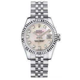 Rolex Datejust Steel Mother of Pearl Diamond Dial Womens Watch