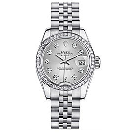 Rolex Steel Datejust Custom Diamond Bezel and Silver Diamonds Dial Womens Watch