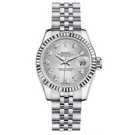 Rolex Datejust Steel with Custom Silver Diamonds Dial Womens Watch